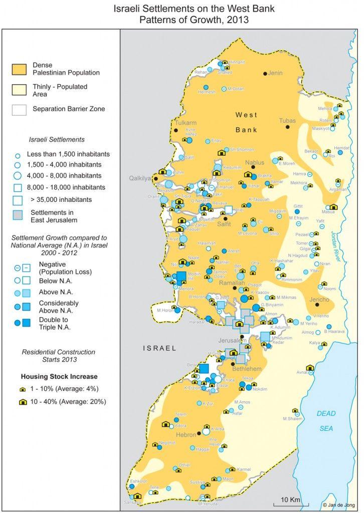Dette kartet viser israelske bosetninger på Vestbredden, og hvordan disse har utviklet seg i perioden 2000 til 2012. Kartet er laget av Jan De Jong ved Foundation for Middle East Peace.