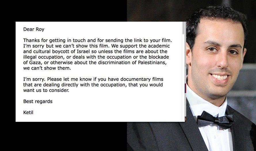 Den israelske filmregissøren Roy Zafrani (t.h.) ble instruert av den norske filmfestivalsjefen hvordan han må lage filmer for å få solgt sin film. (Bilder via Facebook)
