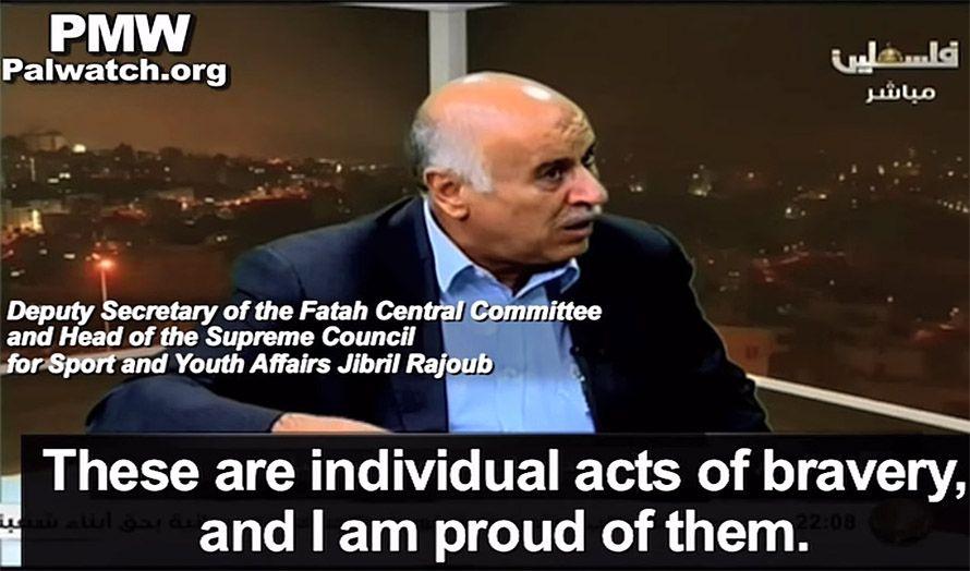 PA-topp Jibril Rajoub sier på TV at han er stolt av terroristene som har knivstukket, skutt og kjørt ned israelere i høst. (Foto: Skjermdump fra PMW / YouTube)