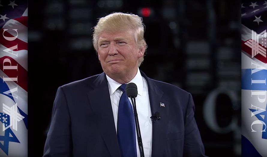Donald Trump talte på AIPAC-konferansen mandag 21. mars. (Foto: Skjermdump fra AIPACs videooverføring.