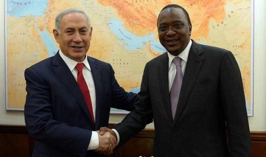 Israels statsminister Benjamin Netanyahu møtte Kenyas president Uhuru Kenyatta i februar. (Foto: GPO)