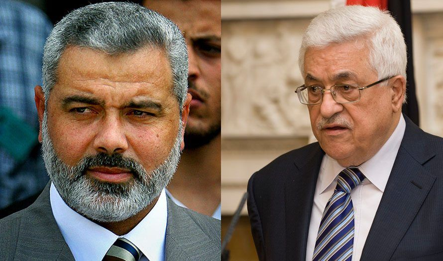 Hamas-leder Ismail Haniyeh og PA-president Mahmoud Abbas fra Fatah. (Foto: Wikimedia Commons og det britiske utenriksdepartementet / Flickr.com / CC)