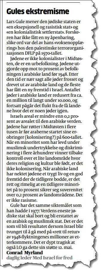 Faksmile fra Aftenposten 24. mai 2017.
