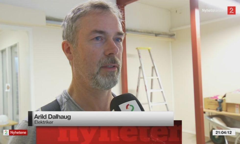 Elektriker Arild Dalhaug (skjermdump fra TV2).