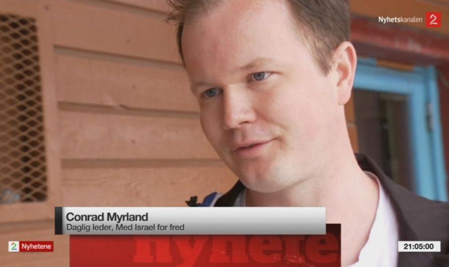 Conrad Myrland intervjues av TV2 (skjermdump fra TV2).