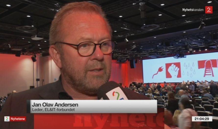 Jan Olav Andersen, leder i El&IT-forbundet (skjermdump fra TV2).