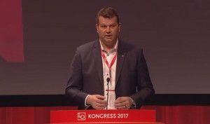 LOs nyvalgte leder Hans-Christian Gabrielsen. (Skjermdump fra LOs direktesending)