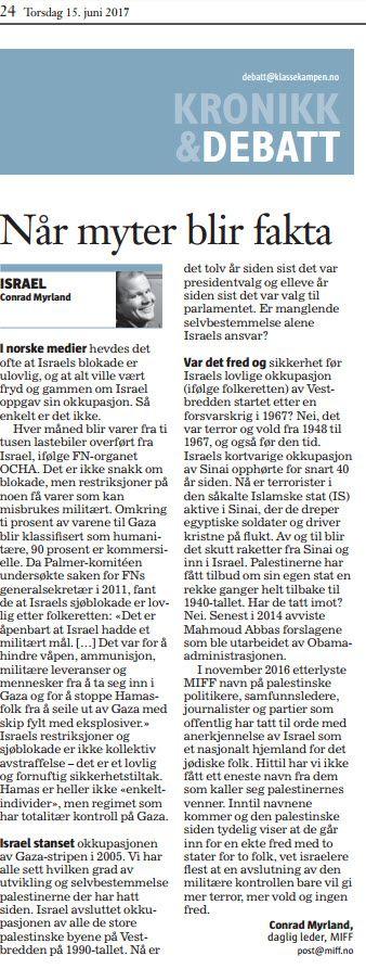 Faksmile av leserinnlegg i Klassekampen torsdag 15. juni 2017.