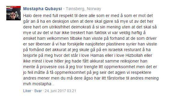 Skjermdump av Mostapha Qubaysis kommentar på MIFFs nettside.