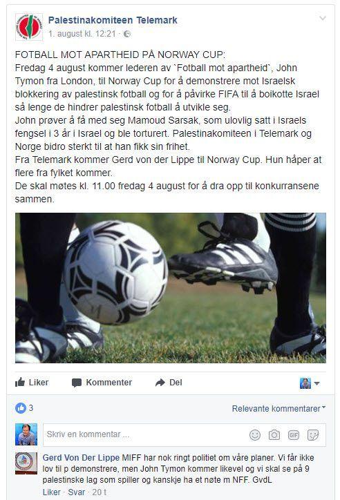 Skjermdump fra Palestinakomiteen Telemark torsdag 3. august kl. 09.30.