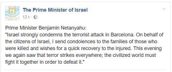Netanyahu fordømte terroren i Barcelona. (Facebook)