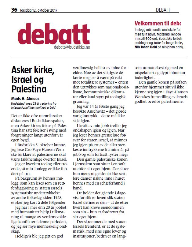 Faksmile av innlegget i Budstikka 12. oktober 2017.