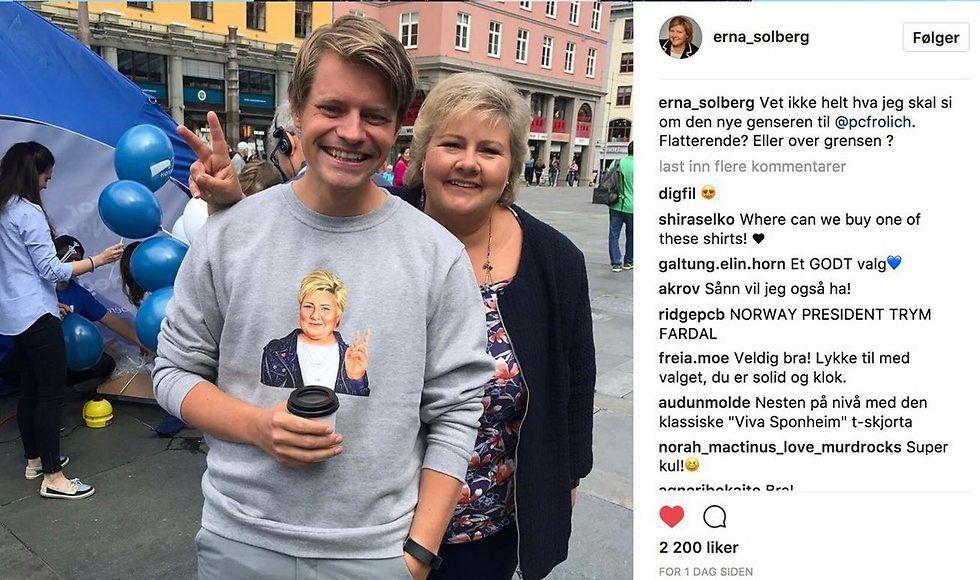 Den israelske kunstnerens portrett av Erna Solberg er blitt brukt på veldig mye valgkampmateriell til partiet Høyre. Her fra Erna Solbergs Instagram-konto.